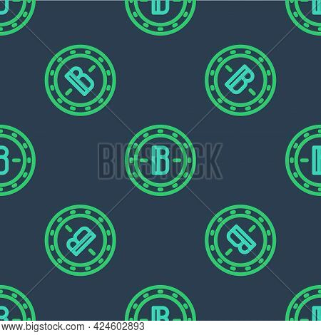 Line Cryptocurrency Coin Bitcoin Icon Isolated Seamless Pattern On Blue Background. Physical Bit Coi