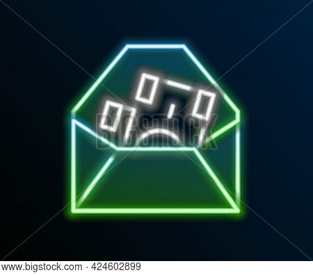 Glowing Neon Line Envelope With Coin Dollar Symbol Icon Isolated On Black Background. Salary Increas