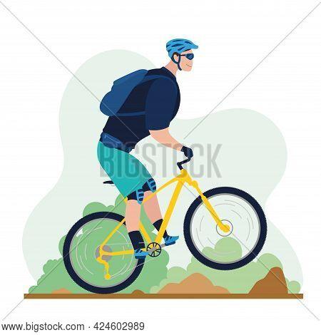 Man Riding A Mountain Bike Vector Illustration