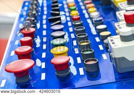 Various Color And Many Type Electrical Equipment Such As Function On Off Push Button And Dial Key Sw