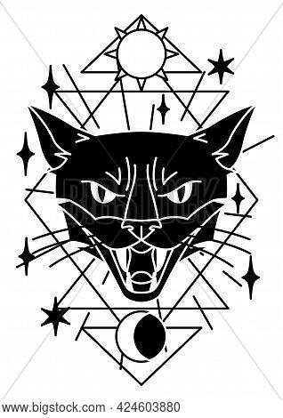 Magic Illustration With Cat. Mystic, Alchemy, Spirituality And Tattoo Art.