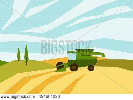 Combine Harvester On Wheat Field. Agricultural Illustration Farm Rural Landscape.