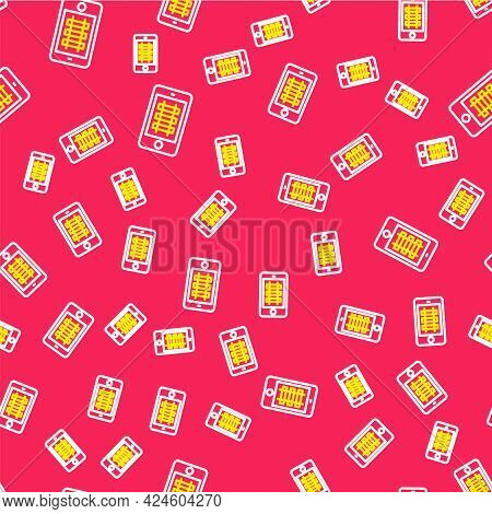 Line Online Ticket Booking And Buying App Interface Icon Isolated Seamless Pattern On Red Background