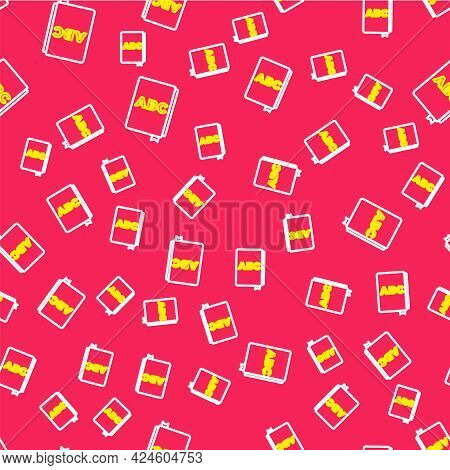 Line Abc Book Icon Isolated Seamless Pattern On Red Background. Dictionary Book Sign. Alphabet Book