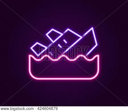 Glowing Neon Line Sinking Cruise Ship Icon Isolated On Black Background. Travel Tourism Nautical Tra