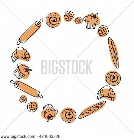 Baking Round Frame. Flat Various Pastries For Logo, Emblem, Label. Sweets And Desserts Cooking Templ