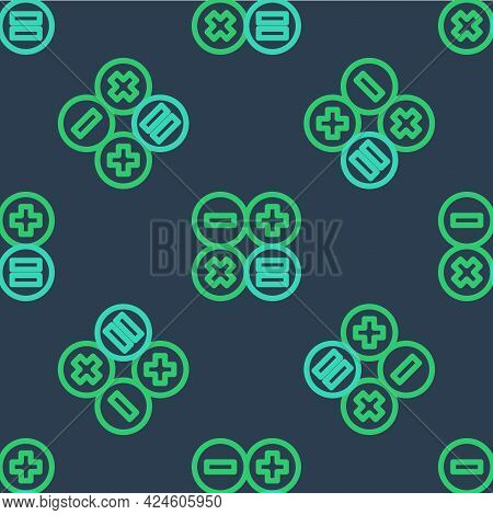 Line Calculator Icon Isolated Seamless Pattern On Blue Background. Accounting Symbol. Business Calcu