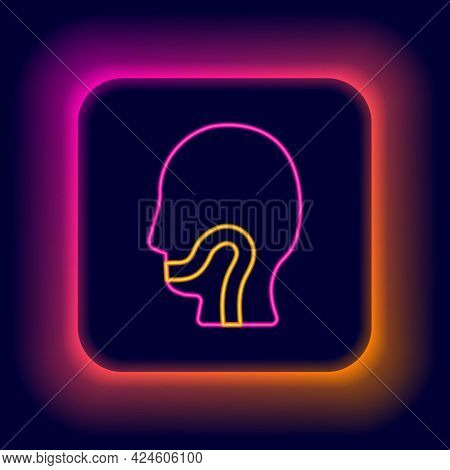 Glowing Neon Line Sore Throat Icon Isolated On Black Background. Pain In Throat. Flu, Grippe, Influe
