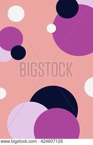 Set Of Circles Of Violet Purple And Black Colors On Peach Background Hand Drawn Digital Illustration