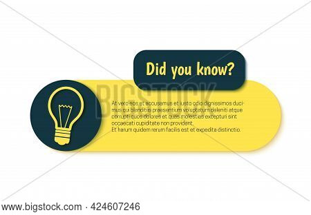 Did You Know Banner In Paper Cut Style. Quiz Show Sticker With Light Bulb Sign. Retro Banner For Edu