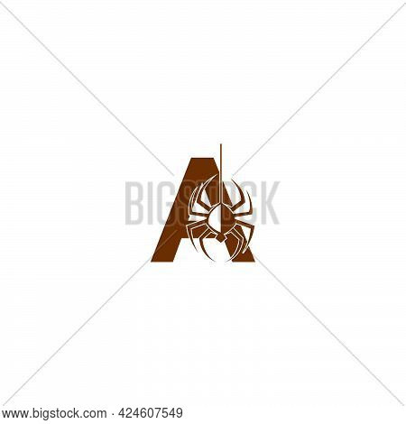 Letter A With Spider Icon Logo Design Template Vector