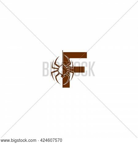 Letter F With Spider Icon Logo Design Template Vector
