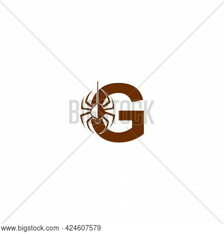 Letter G With Spider Icon Logo Design Template Vector