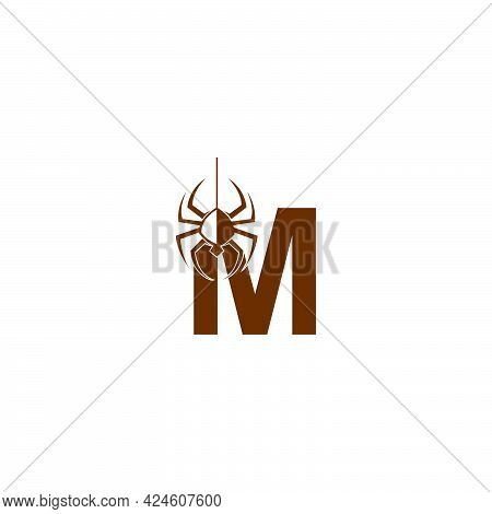 Letter M With Spider Icon Logo Design Template Vector