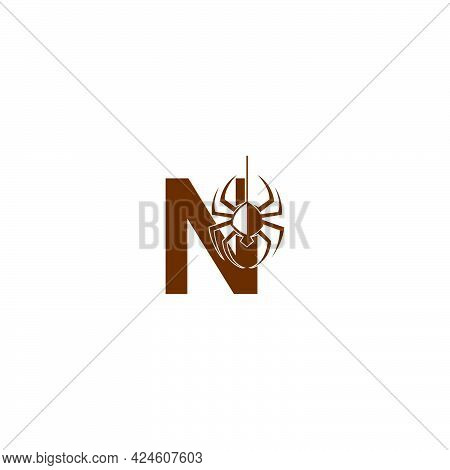 Letter N With Spider Icon Logo Design Template Vector