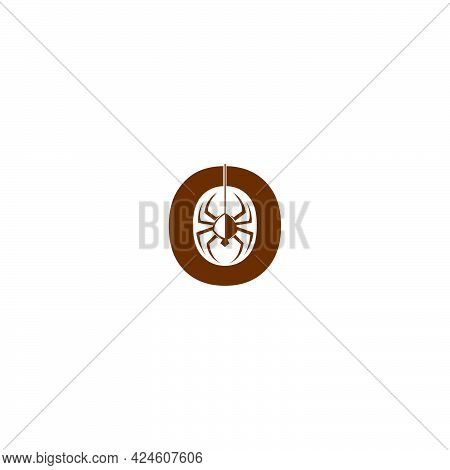 Letter O With Spider Icon Logo Design Template Vector