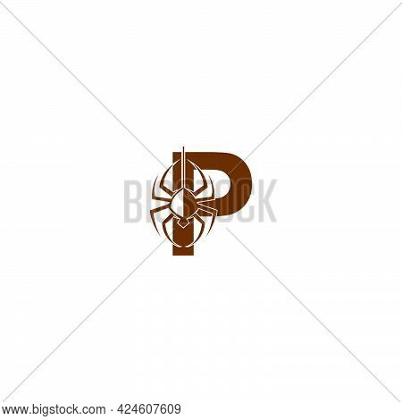 Letter P With Spider Icon Logo Design Template Vector