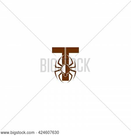 Letter T With Spider Icon Logo Design Template Vector