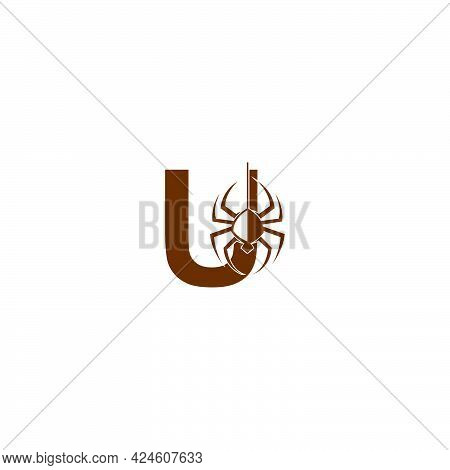 Letter U With Spider Icon Logo Design Template Vector