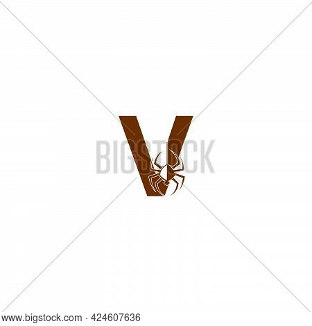 Letter V With Spider Icon Logo Design Template Vector