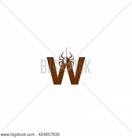 Letter W With Spider Icon Logo Design Template Vector