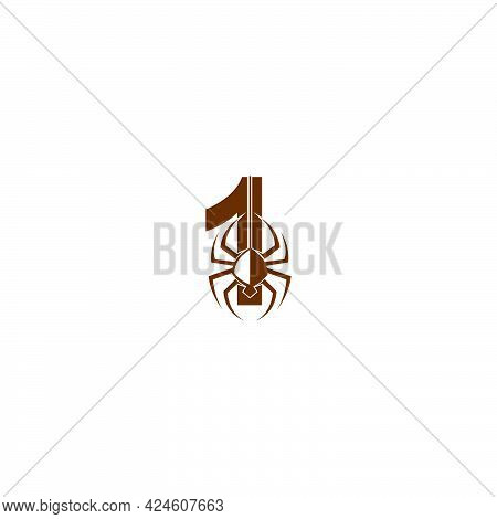 Number 1 With Spider Icon Logo Design Template Vector