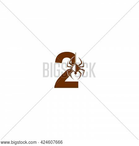 Number 2 With Spider Icon Logo Design Template Vector