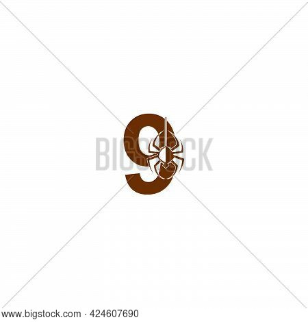 Number 9 With Spider Icon Logo Design Template Vector