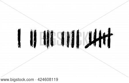 Tally Marks, Prison Wall On White Background. Counting Signs. Vector Illustration Hand Drawn.