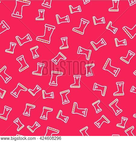 Line Waterproof Rubber Boot Icon Isolated Seamless Pattern On Red Background. Gumboots For Rainy Wea