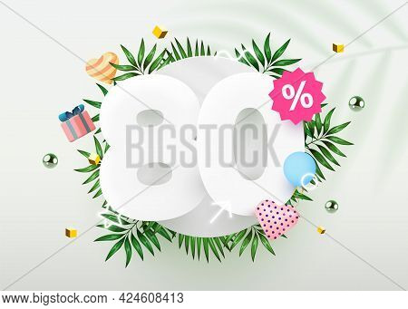 80 Percent Off. Discount Creative Composition. Summer Sale Banner With Decorative Objects, Palm Leav