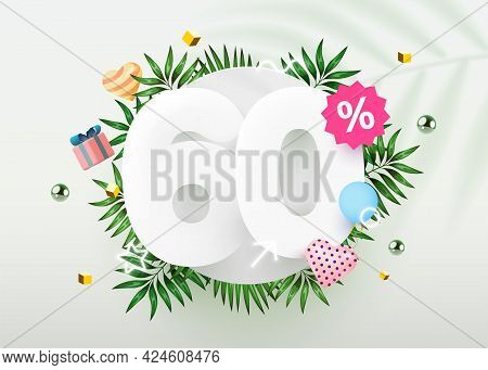 60 Percent Off. Discount Creative Composition. Summer Sale Banner With Decorative Objects, Palm Leav