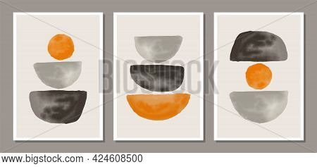 Set Of Trendy Abstract Watercolor Minimalist Artistic Hand Painted Composition