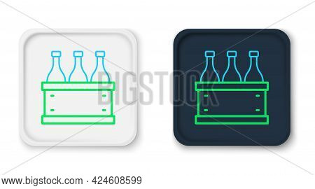 Line Bottles Of Wine In A Wooden Box Icon Isolated On White Background. Wine Bottles In A Wooden Cra