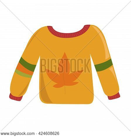 Cute Autumn Sweater Icon In Cartoon Style Isolated On White Background Vector Illustration