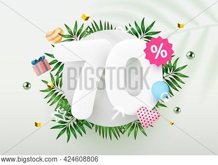 70 Percent Off. Discount Creative Composition. Summer Sale Banner With Decorative Objects, Palm Leav