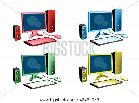 Colorful Illustration Set Of Desktop Computer Icon