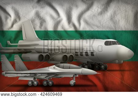 Air Forces On The Bulgaria Flag Background. Bulgaria Air Forces Concept. 3d Illustration