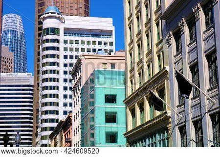 June 8, 2021 In San Francisco, Ca:  Colorful Skyscraper Buildings Taken In Downtown San Francisco, C