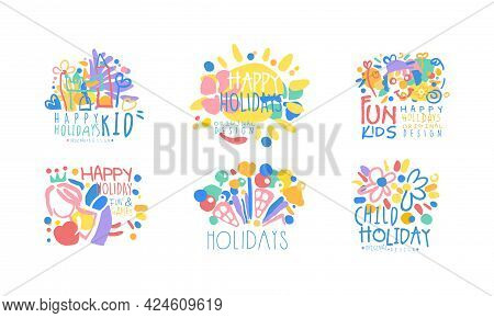 Fun Kids Happy Holidays Logo Design Set, Child Holidaym Fun And Games Colorful Labels Vector Illustr
