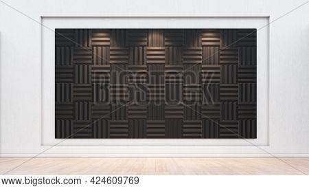 Interior Background With Acoustic Panels On The Plaster Wall. 3d Rendering