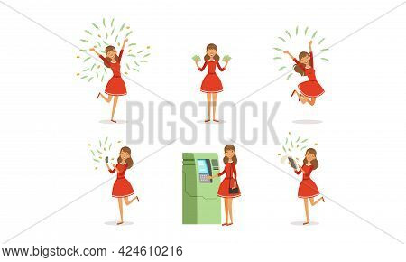 Happy Successful Young Woman Millionaire With Lot Of Money Set, Happy Wealthy Girl With Money Flying