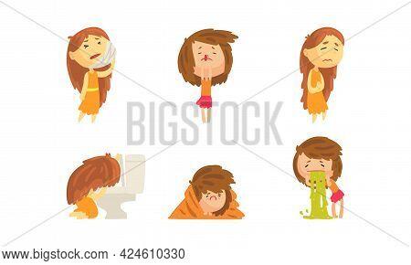 Sick Girl Set, Female Person Suffering From Toothache, Nosebleeding, Stomach Ache, Vomiting Cartoon