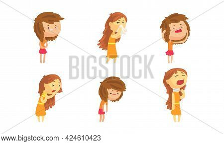 Sick Girl Set, Female Person Suffering From Runny Nose, Cough, Sore Throat, Stomach Ache Cartoon Vec