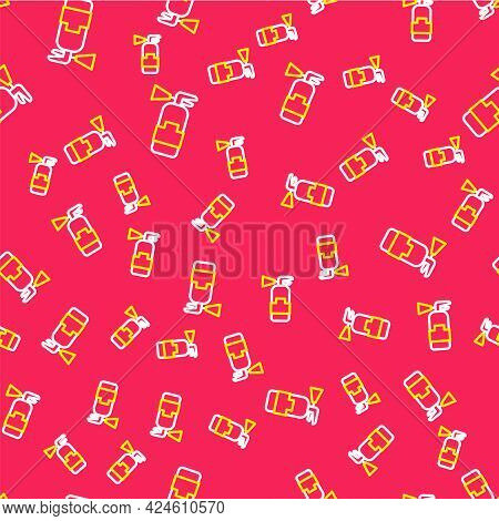 Line Fire Extinguisher Icon Isolated Seamless Pattern On Red Background. Vector