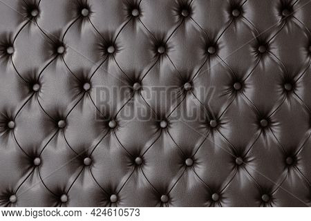Decorative Upholstery Of Door Or Wall With Soft Interior Panel. Furniture Upholstery In Dark Brown L