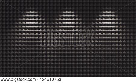 Dark Acoustic Foam Background Illuminated By Lights. 3d Illustration