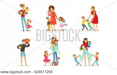 Set Of Tired Parents With Naughty Children, Stressed Exhausted Mom And Dad With Playful Boys And Gir