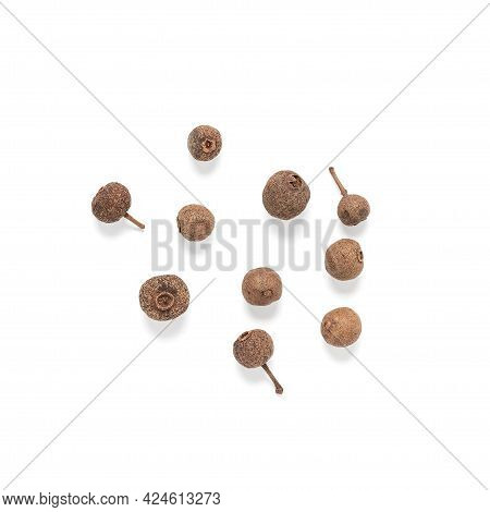 Whole Allspice Isolated On White Background. Top View. Pimento Spice Closeup.
