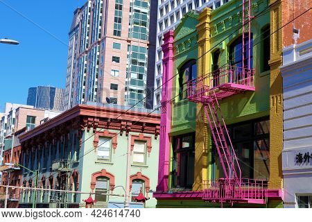 June 8, 2021 In San Francisco, Ca:  Historical Colorful Buildings With Retail Stores And Restaurants
